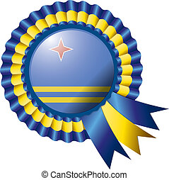 Aruba rosette flag - Aruba detailed silk rosette flag, eps10...