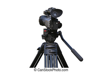 videocamera on mount isolated - Professional videocamera on...