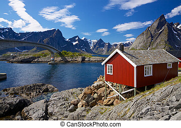 Red rorbu fishing hut - Traditional red fishing rorbu hut on...