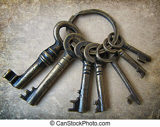 Old keys of luck - Seven keys to good luck grunge background...