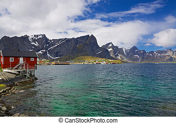 Norwegian fjord - Typical norwegian fjord with fishing hut...
