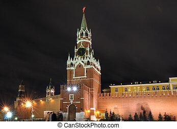 Spasskaya tower in moscow kremlin. russia