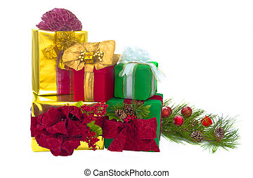 Five Holiday Gift Packages - A gold foil-wrapped gift topped...