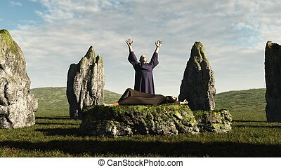 The Sacrifice - Pagan druid sacrifice in an ancient stone...