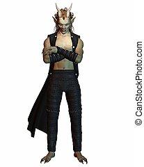 Horned Demon - Horned demon character in shadowy lighting,...