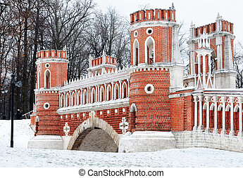 gothic bridge in Tsaritsyno park Russia