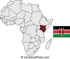 Kenya map and flag