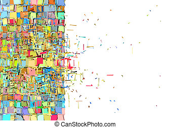 abstract 3d exploded shape backdrop in rainbow color