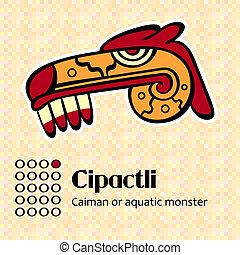 azteca, símbolo, Cipactli