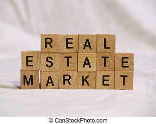 Block Real Estate Market - The words REAL ESTATE MARKET...