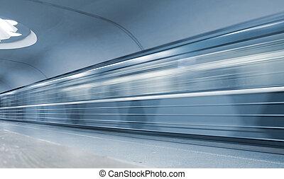 trem, em movimento,  metro