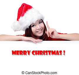 """Happy Girl with Text """"Merry Christmas"""""""