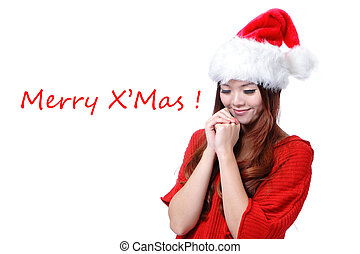 """Happy Girl with Text """"Merry Christ"""""""