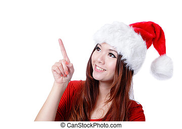 happy Christmas girl smile introduce by finger - Young happy...