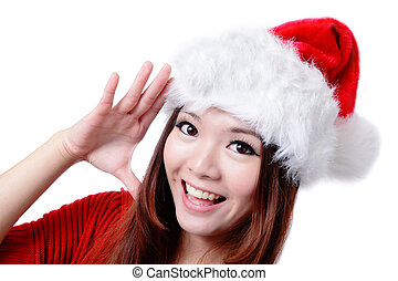 Happy Girl Say Hello with Christmas hat - Young Happy Girl...