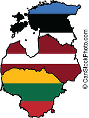 Baltic States map and flag