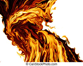 stream of fire on a white background