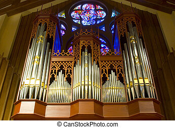 Church Organ - The intricate case and pipework of a...