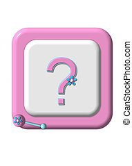 Girl or Boy - Pink rimmed baby block has question mark on it...