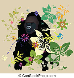Gorilla in the forest - Artistic gorilla in the forest
