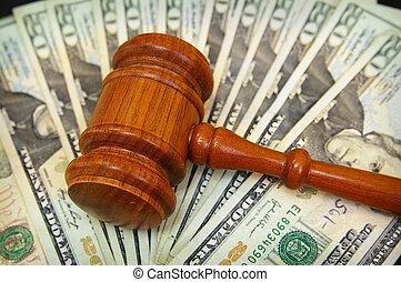 money array - court gavel on an array on money
