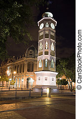 clock tower night guayaquil ecuador - clock tower night...