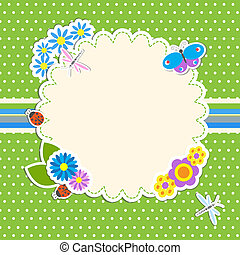 Frame with flowers and butterfly, ladybug,dragonfly