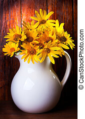 bunch of yellow flowers - still life with bunch of yellow...