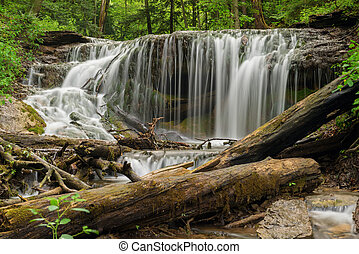 The falls on Weavers creek in Owen Sound, Ontario, Canada -...