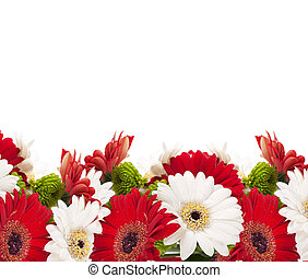 White and red flowers, bouquet of gerber