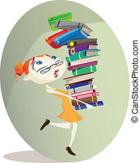 Librarian - A cartoon librarian carries a huge pile of...