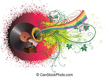 Abstract music background with rainbow