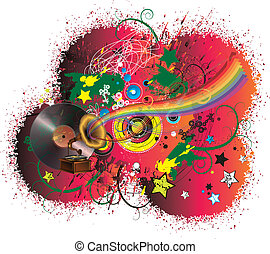 Music rainbow and abstract background
