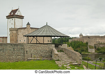 view on a castle Herman from bastion Kristlasvall in Narva,...