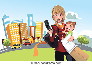 Busy woman - A vector illustration of a busy woman calling...
