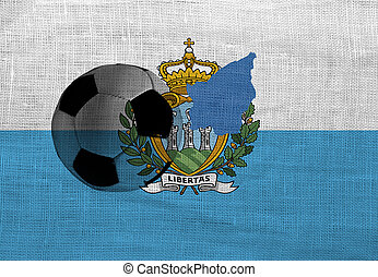 San Marino football - Football ball on the national flag of...