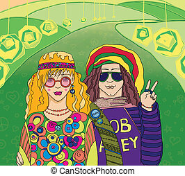 Two Young Hippies. Raster illustration.