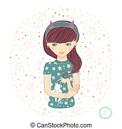 Horoscope Zodiac signs- Capricorn Raster illustration of the...