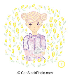 Horoscope Zodiac signs- Aries Raster illustration of the...