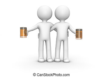 Cheers - Render of two happy men with beer