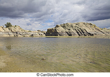 Willow Lake Prescott Arizona - scenic willow lake lined with...
