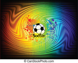 Abstract ink background with soccer ball. Vector illustration