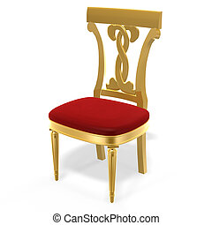 golden royal chair - 3d golden luxury royal chair on white...