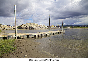 Boat Dock, Willow Lake Prescott AZ - a boat dock provides...