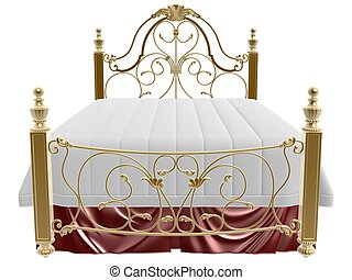 luxury bed - 3d golden luxury bed on white background
