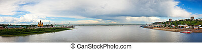 junction of Oka river with Volga River Russia - View of old...