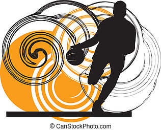 Basketball player in action Vector illustration