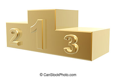 golden podium of top 3 winner isolated on white background