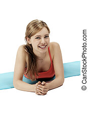 cute fitness woman making a break on white background