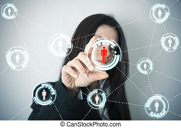 Social network on futuristic screen - Businesswoman supports...